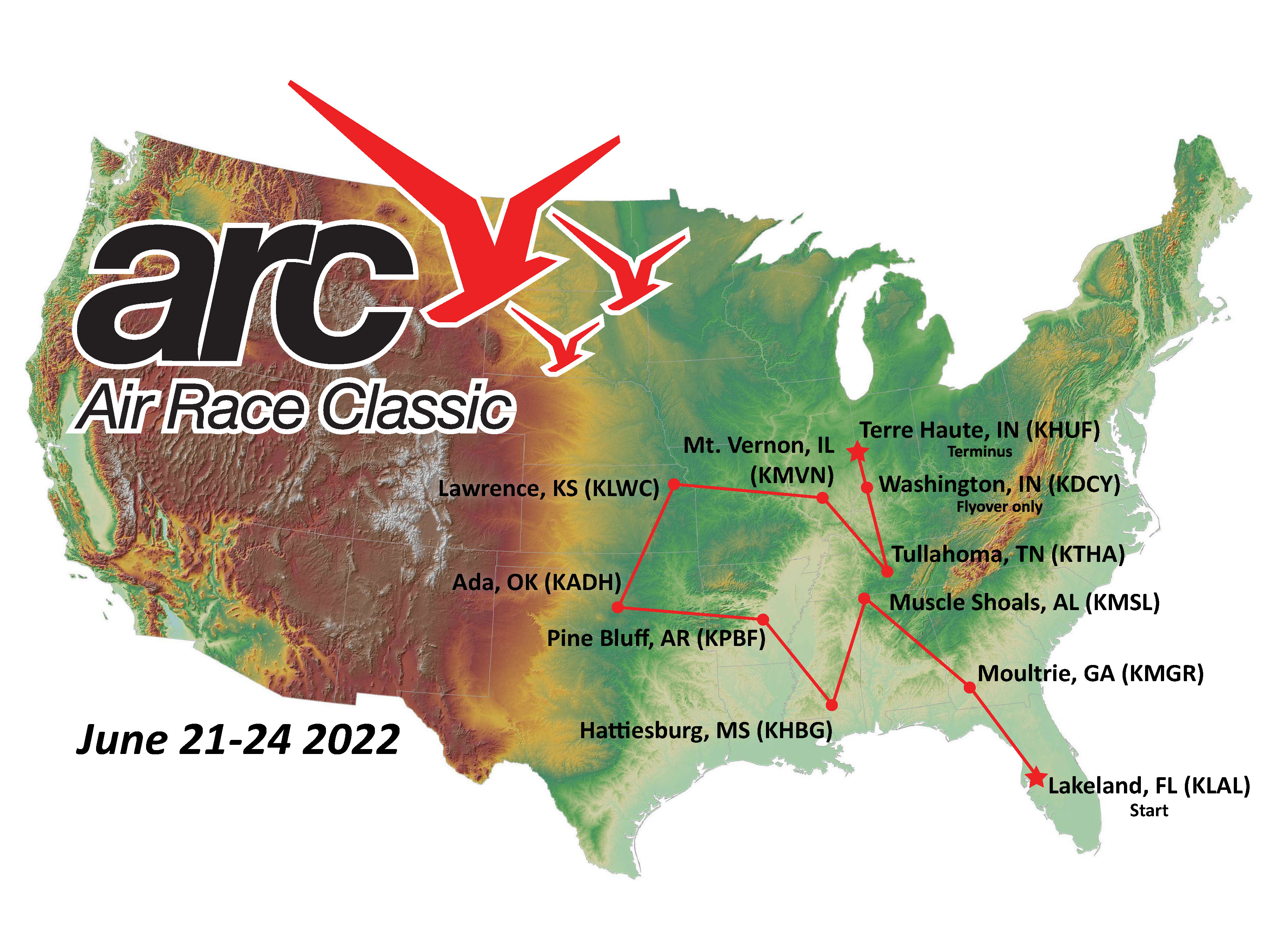 Welcome To The Air Race Classic Air Race Classic Inc - 1934 us highways map midwest